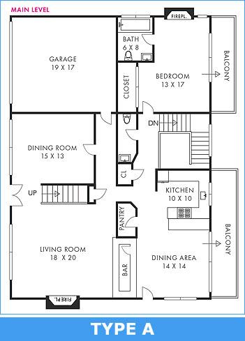 Floorplan type A: Standard black & white
