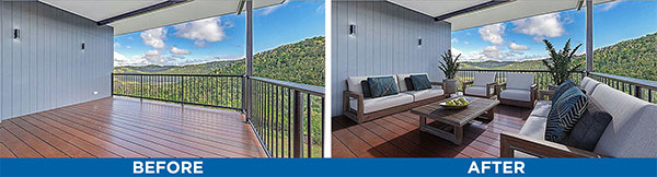 Balcony living space virtual staging