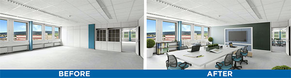 Commercial office space virtual staging before and after photos